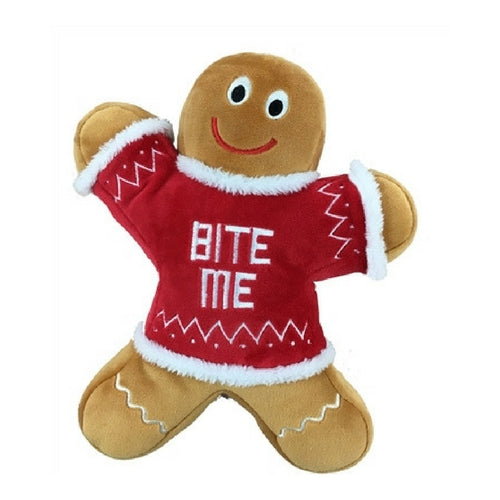 Lulubelles Power Plush Bite Me Gingerbread Man Holiday Squeak Dog Toy