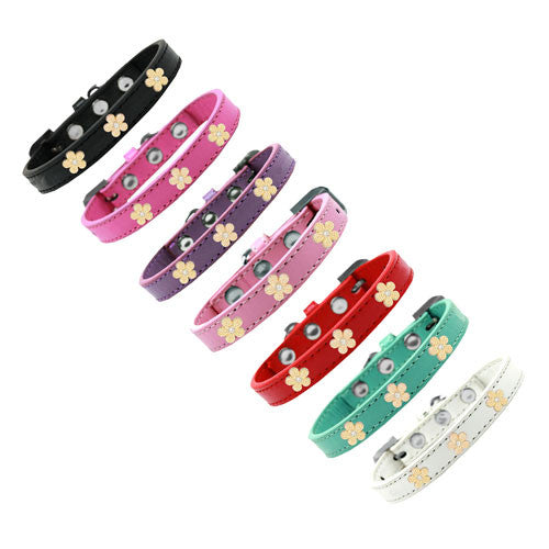 Mirage Pet Products Gold Flowers Widget Leather Designer Dog Collar All Colors
