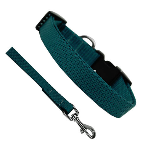 Basic Style Woven Nylon Solid Collar and Lead Set Teal