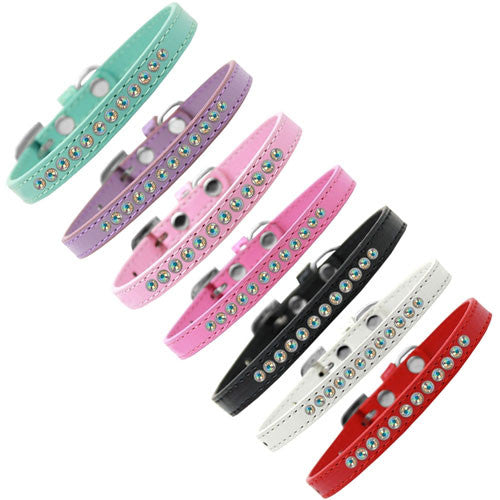 Mirage Faux Leather Designer AB Crystal Puppy Collar All Colors