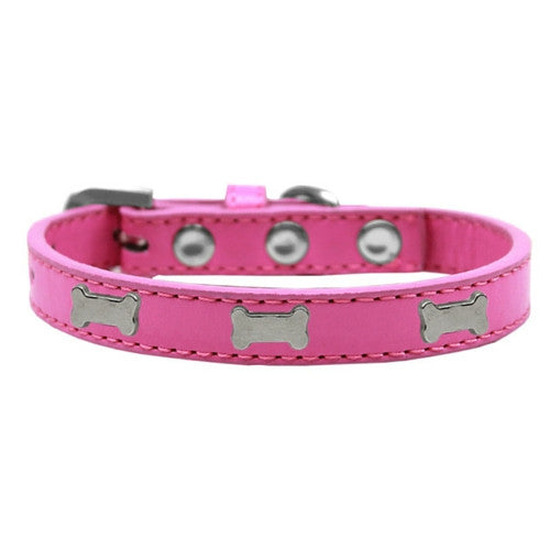 Mirage Pet Products Silver Bones Widget Leather Designer Dog Collar Hot Pink