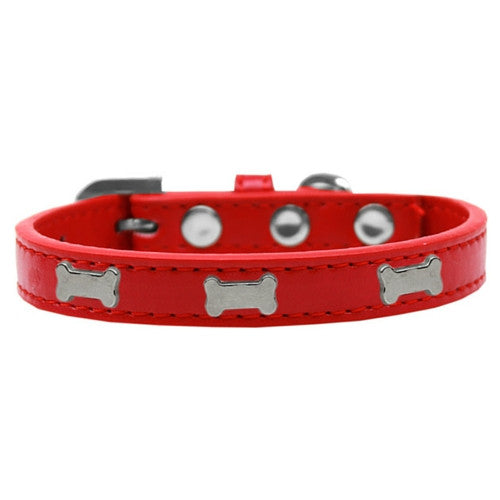 Mirage Pet Products Silver Bones Widget Leather Designer Dog Collar Red