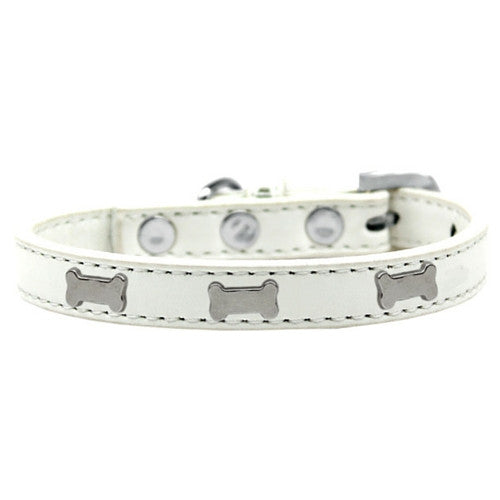 Mirage Pet Products Silver Bones Widget Leather Designer Dog Collar White