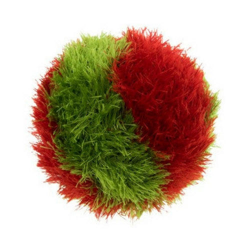 OoMaLoo Funky Fur Striped Holiday Squeaky Ball Plush Dog Toy Red and Green