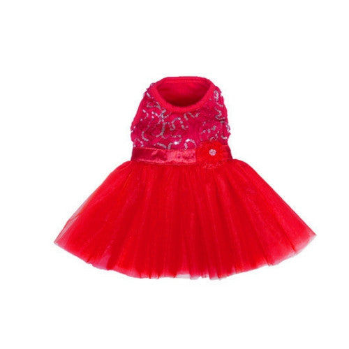 Pooch Outfitters Cassandra Glamorous Red Sequin Party Dog Dress