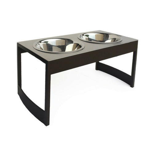 Pets Stop Steel Indus Double Diner Elevated Dog Feeder Bowls — Mocha