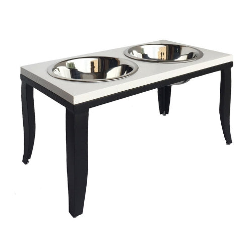 Pets Stop Hardwood and Steel Noor Elevated Double Bowl Dog Diner