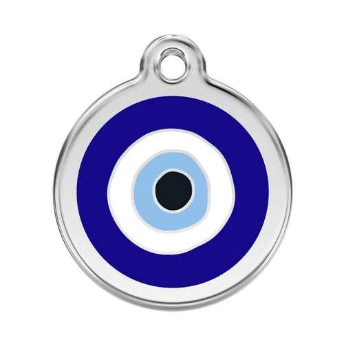 Red Dingo Evil Eye Blue Enamel Stainless Steel Dog ID Tag Large