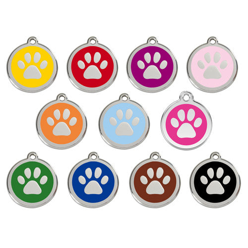 Red Dingo Paw Print Enamel Stainless Steel Dog ID Tag