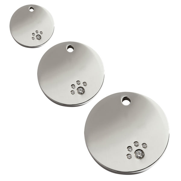 Red Dingo Circle Stainless Steel Swarovski Diamante Dog ID Tag