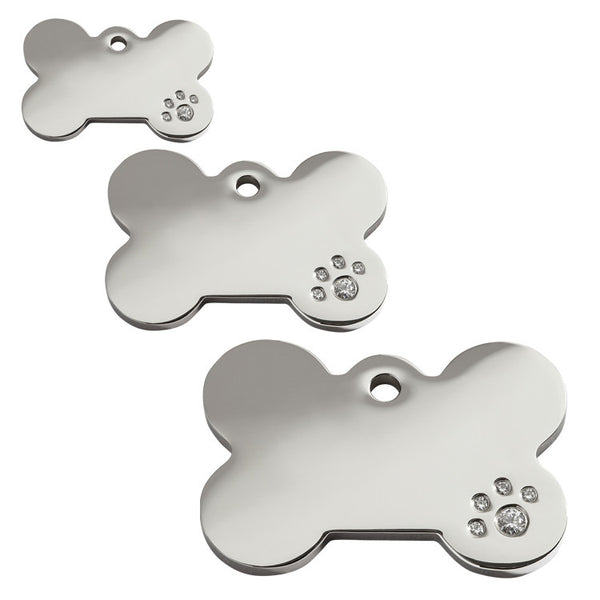 Red Dingo Bone Stainless Steel Swarovski Diamante Dog ID Tag