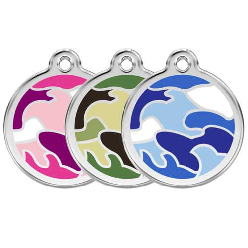 Red Dingo Camouflage Enamel Stainless Steel Dog ID Tag