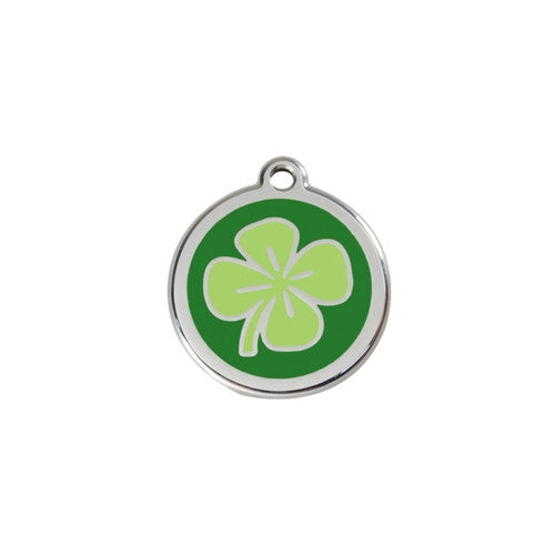 Red Dingo Lucky Clover Enamel Stainless Steel Dog ID Tag Small