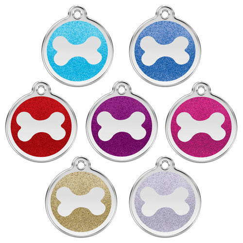 Red Dingo Glitter Bone Stainless Steel Dog ID Tag