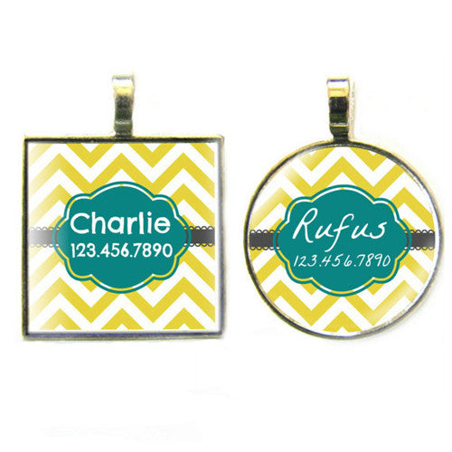 Sofa City Sweethearts Chevron Stripes Resin Art Dog ID Tag — Dandelion