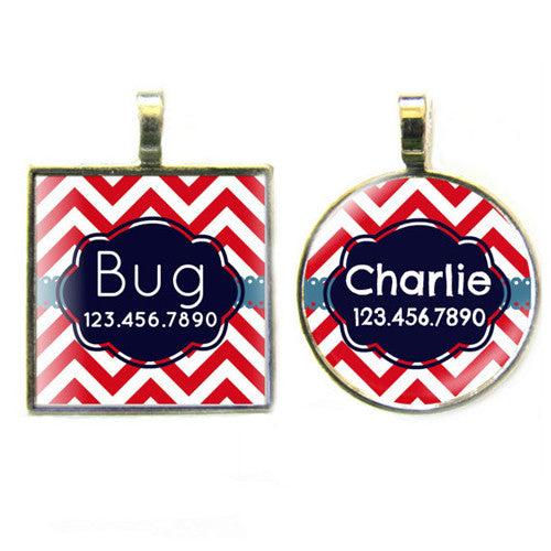 Sofa City Sweethearts Chevron Stripes Resin Art Dog ID Tag — Red