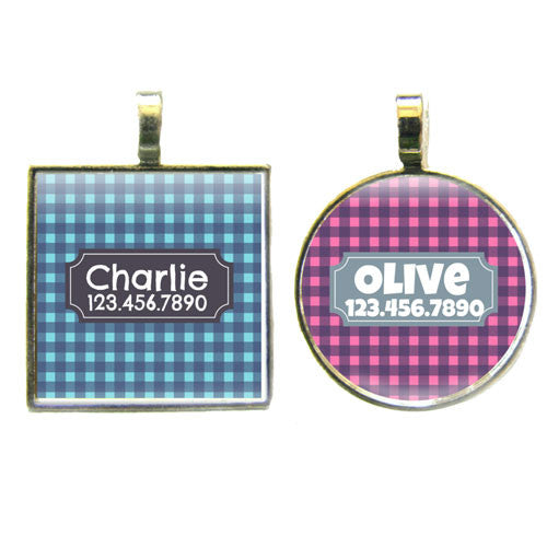 Sofa City Sweethearts Gingham Plaid Dog ID Tag