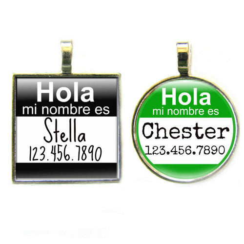 Sofa City Sweethearts Hola Mi Nombre Es Dog ID Tag