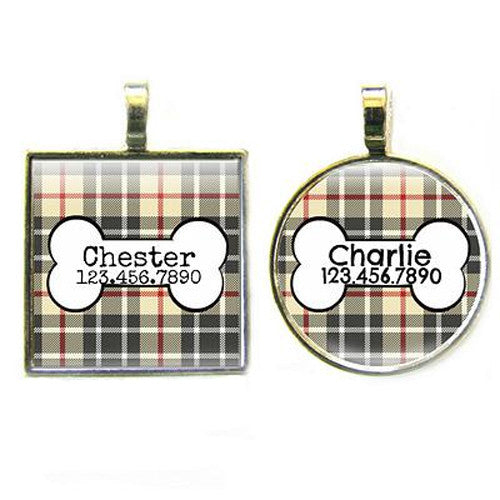 Sofa City Sweethearts Preppy Tan Plaid Resin Art Dog ID Tag