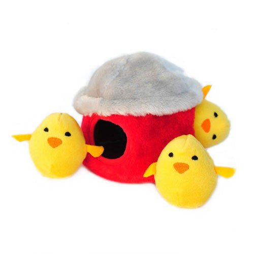 Zippy Paws Chicken Hut Burrow Interactive Plush Puzzle Dog Toy