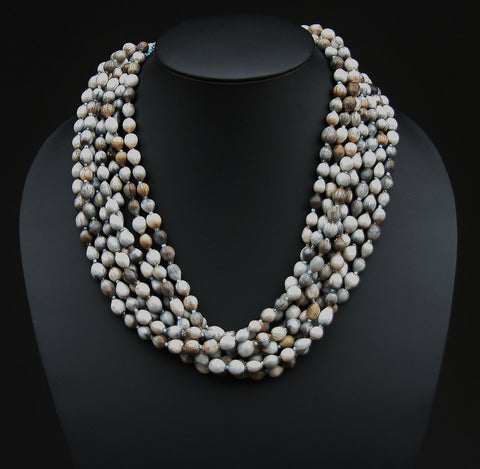African Imfibinga/Job'sTears Seed Necklace Natural Gray with Bead Closure