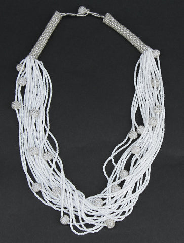 African White Seed Bead Necklace Woven Crystal White Beads