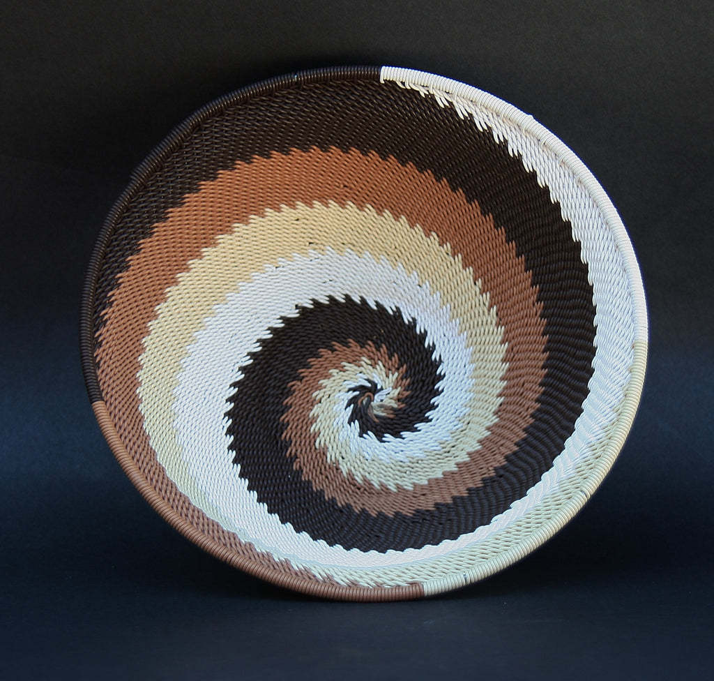 "Telephone Wire Bowl Dark Chocolate Cream White Swirls  6.75"" D X 3"" H - culturesinternational  - 1"