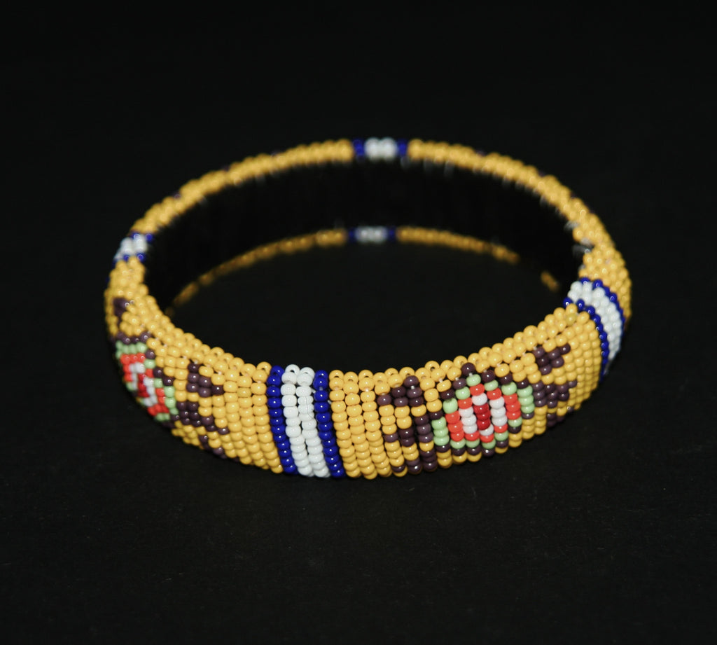 African Zulu Beaded Yellow Cuff Bracelet - Cultures International From Africa To Your Home