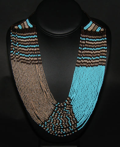 African Tribal Beaded Waterfall Blue Pearl Burgundy Taffy Colors