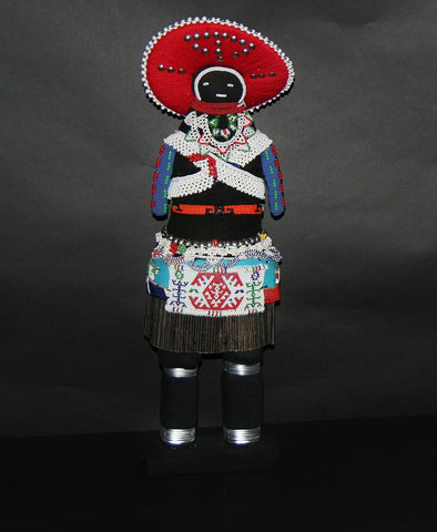 "African Zulu Tribal Msinga Doll Collectible 22"" H"