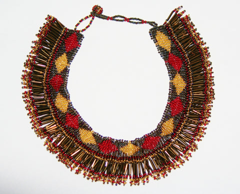 African Princess Beaded Tribal Necklace Red Gold Gray