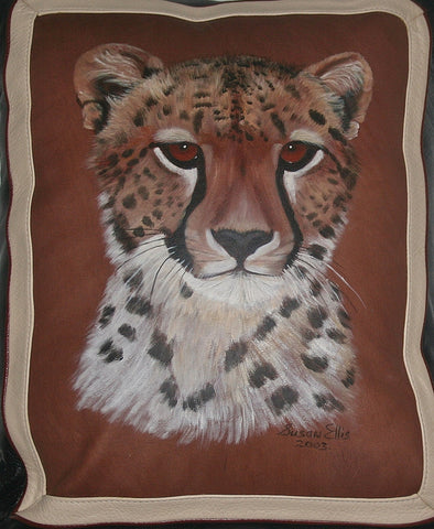 African Leopard Leather Pillow Original Art