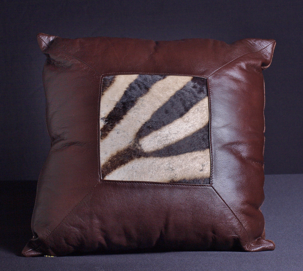 African Leather Zebra Inlay Pillow Brown - Cultures International From Africa To Your Home