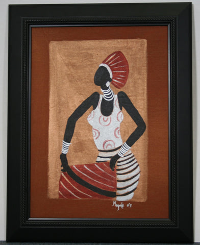 "African Original Painting Xhosa Modern Tribal Woman II Acrylic on Textile Framed in Black 19.5""H X 14.5""W"