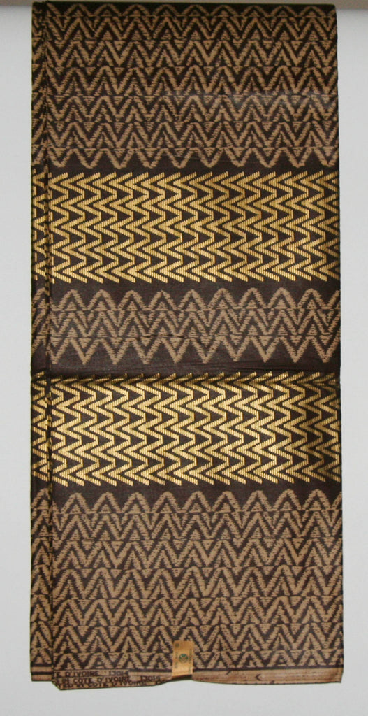 Vlisco Uniwax African Fabric 6 Yards Ivory Coast Colors Chocolate Beige Gold