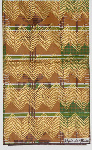 African Fabric 6 Yards Classic Couleurs de Woodin Geometric Waxed Gold