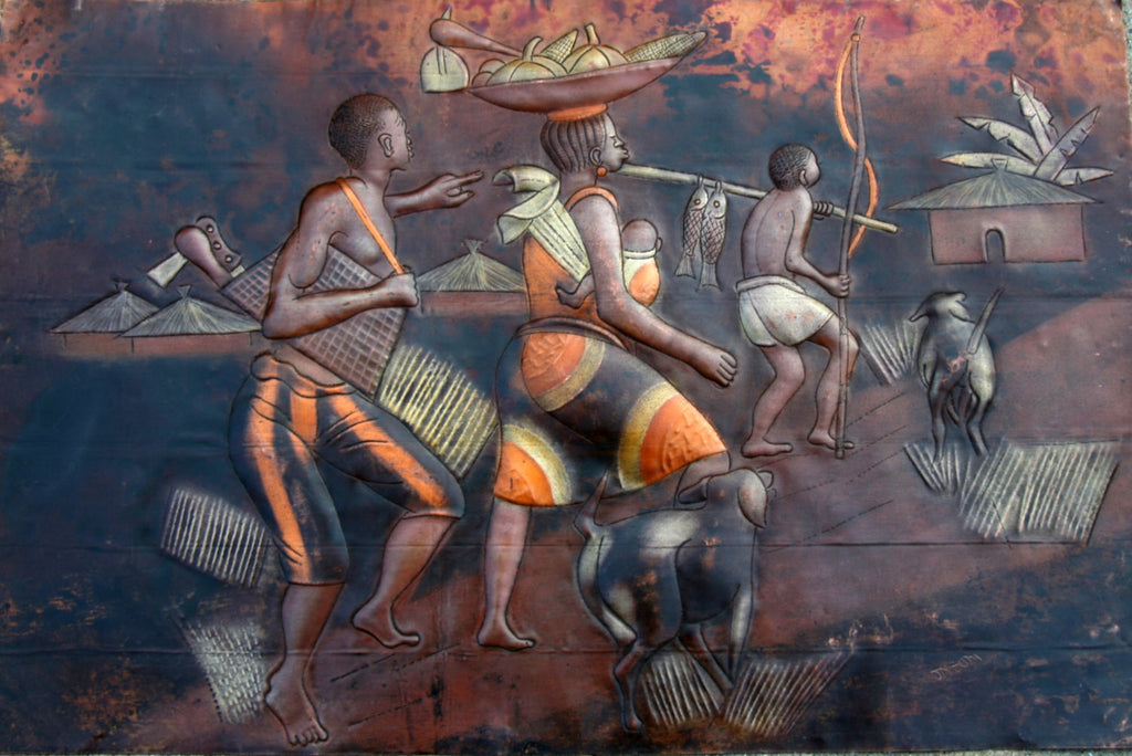 "African 3D Copper Art Family Returning Home Congo - 15"" H X23 W"" - Cultures International From Africa To Your Home"