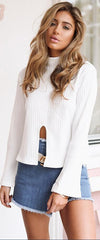 High Neck Stretchy Ribbed-Knit Split Long Sleeve Blouse - Oh Yours Fashion - 2