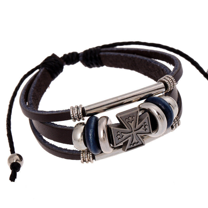 Hot Sale Cross Beaded Leather Bracelet - Oh Yours Fashion - 1