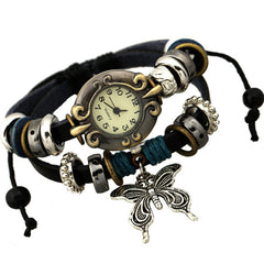 Sweet Butterfly Leather Bracelet Watch - Oh Yours Fashion - 1