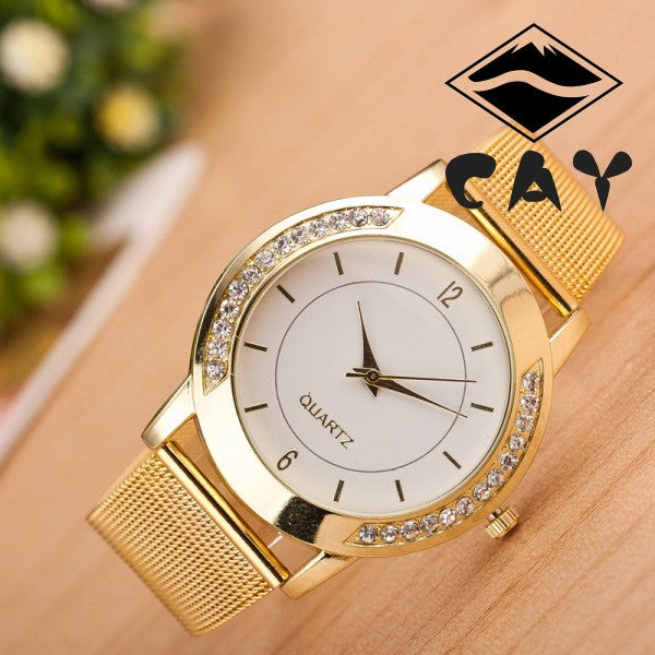 Golden Alloy Strap Personality Watch - Oh Yours Fashion - 1