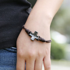 Unique Cross Leather Bracelet - Oh Yours Fashion - 2