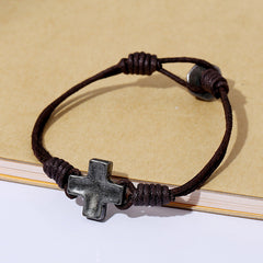 Unique Cross Leather Bracelet - Oh Yours Fashion - 3