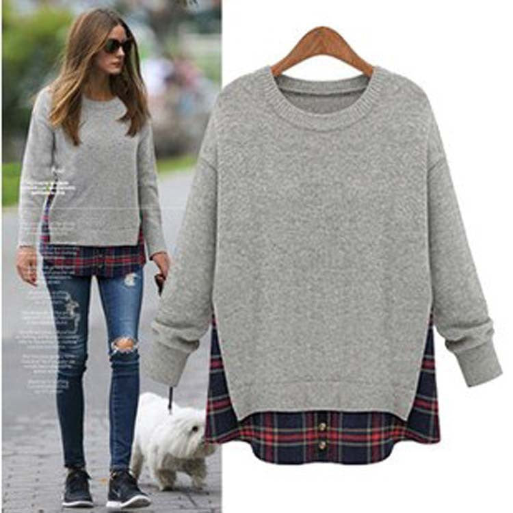 Plus Size Loose Scoop Long Sleeve False Two-piece T-Shirt - Oh Yours Fashion - 1
