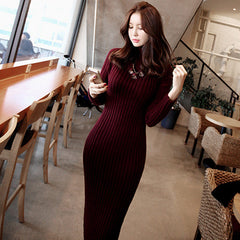 Fashion Ribbed High Neck Long Sleeve Knit Long Sweater - Oh Yours Fashion - 7
