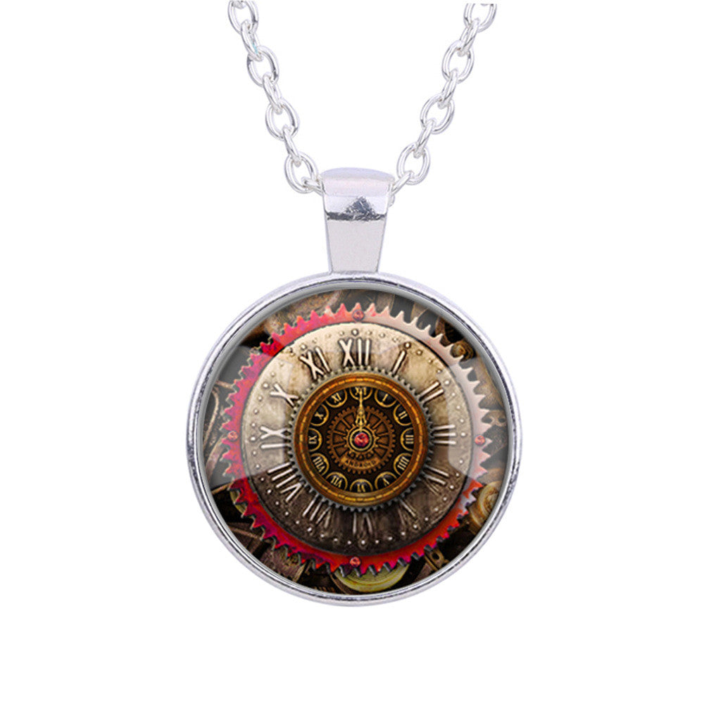 Gear Dial Pattern Time Gem Pendant Necklace - Oh Yours Fashion - 1
