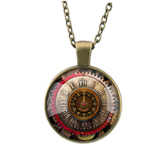 Gear Dial Pattern Time Gem Pendant Necklace - Oh Yours Fashion - 2