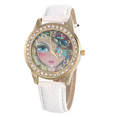 Floral Beauty Crystal Leather Watch - Oh Yours Fashion - 1