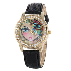 Floral Beauty Crystal Leather Watch - Oh Yours Fashion - 3