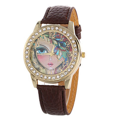 Floral Beauty Crystal Leather Watch - Oh Yours Fashion - 4